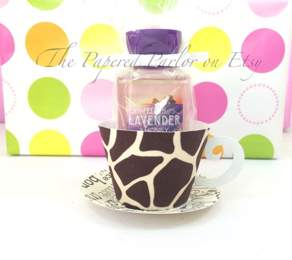 Set of 12 paper tea cup party favors giraffe by for Teacup party favors