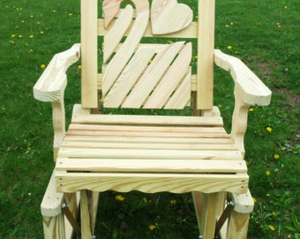 2 Foot Unfinished Pressure Treated Pine Designs Fancy Swan with Heart Cut Out Glider Chair - Amish Made in the USA