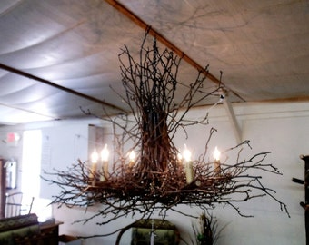Rustic Natural Hickory Twig Branch Chandelier - 58 inch Diameter - 6 Lights - Amish Made in the USA - Free Shipping