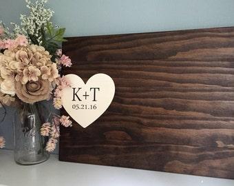 Rustic Wedding Guest Book Alternative / Initials & Heart Wedding Guest Book / Painted Wood Guest Book Rustic Country Wedding Decor Wood