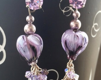"earrings, lampwork ""Botany 5"""