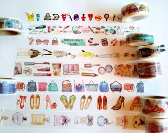 "24"" Washi Tape Samples lipstick perfume high heels nail polish beauty makeup femenine fashion girl bags cosmetics washi tape"