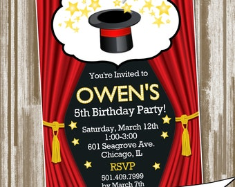 Magic Show Theme Birthday Party Invitation--Personalized Digital File