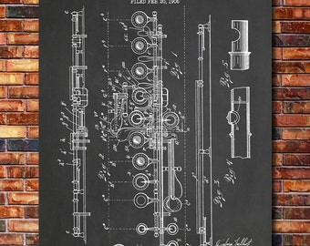 Flute Patent Print Art 1908