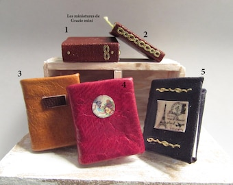 Miniature leather books- scale 1:12- dollhouses miniatures