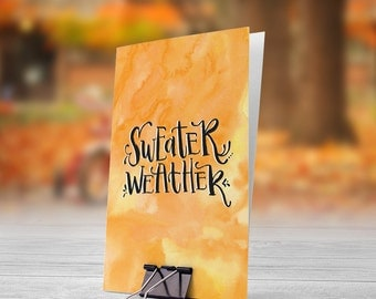 Sweater Weather Orange Watercolor Background 5x7 inch Folded Greeting Card - GC1098