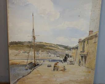Antique watercolour painting of The Cob Lyme Regis Dorset England by Alfred Henry Hart dated 1930s