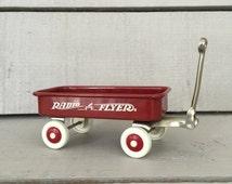 Miniature Radio Flyer Wagon, Vintage Red Wagon, Kids Room Decor, Baby Shower Decoration, Business Card Holder