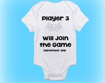 Video Game Onesie® - Pregnancy Reveal - Unique Shower Gift - New Baby Gift -Player 3 Will Join the Game-Pregnancy Announcement-Baby Clothing