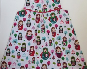 Russian Nesting Doll Girl Dress -Girls Reversible Matryoshka Doll Dress - Girls Red Polka Dot Dress - Baby Girl Russian Doll Dress -
