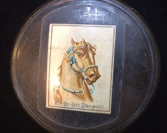 Rare Antique Victorian English Advertising  Dusting Powder Box with Horse Equestrian Vanity Item Advertising