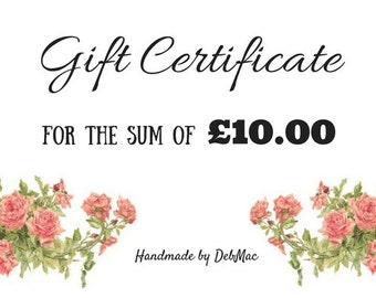 gift certificate, ten pounds gift certificate, gift voucher, coupon, stocking filler, stocking stuffer, voucher code, last minute gift