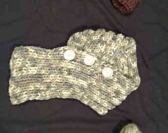 By KnottedwLove Designs.  Hand made knitted scarf and headband set