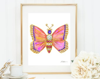 Butterfly Brooch Watercolor Rendering in Yellow Gold with Opals, Amethysts, Diamonds, and Pink Sapphires printed on Paper