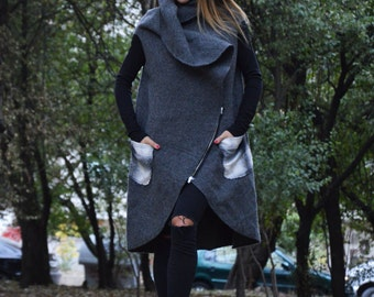 Asymmetryc Dark Gray Cashmere Maxi Coat, Sleeveless Zipper Coat, Loose Vest With Large Pocket by SSDfashion