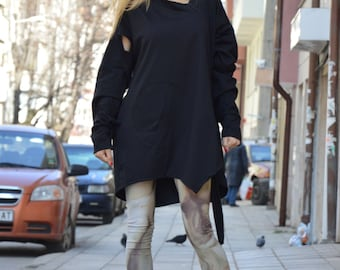Women's Black Maxi Tunic, Short And Long Sleeves, Loose Extravagant Long Tunic, Asymmetrical Top by SSDfashion