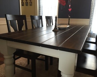 "Dark Walnut Modern Farm Table with 5"" Husky Legs"