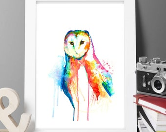 Buy 2 Get 1 FREE! OWL bird painting print Original LIMITED Edition Signed Watercolour Thick 300 gsm wild animals posting worldwide