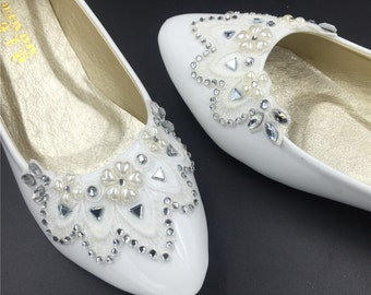 Vintage Crystals Lace Wedding Shoes,Bridal Ballet Flats Shoes,Comfortable Bridal flats,USA Size 4 5 6 7 8 9 10 11 12 Size 4~12.5