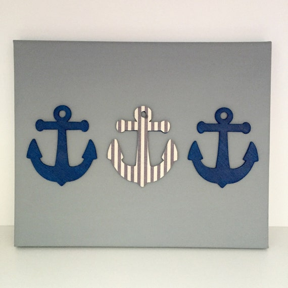Nautical nursery art anchor artwork navy nautical art for Anchor decoration runescape