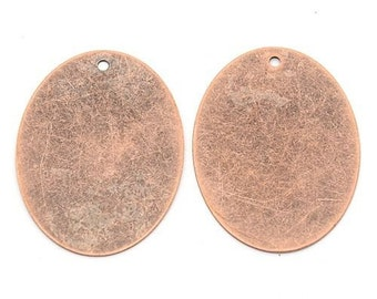 Metal Stamping Blanks Oval Blanks Oval Pendants Antiqued Copper Blanks Large Blanks Blank Pendants Large Oval 40mm 5 pieces