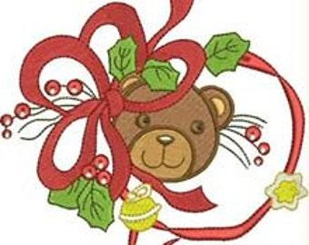 New Christmas bear thun machine-washing embroidery