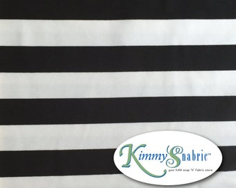 Black White Stripes Cotton Lycra (Spandex) Jersey Knit