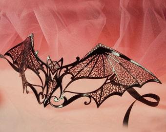 "Masquerade mask laser cut - Bat women costume - Black Sexy Mask for women with Swarovsky, Halloween ,Carnival Z15 ""Spider women"""