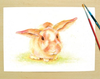 Colourful rabbit print from an original watercolour painting