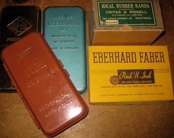 Vintage School Supplies Lot, Geometry Tins, Ideal Rubber Bands Box, Eberhard Faber Erasers Box
