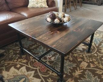Industrial Pipe Reclaimed Wood Coffee Table