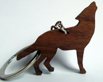 Wooden Wolf Keychain, Walnut Wood, Animal Keychain, Environmental Friendly Green materials