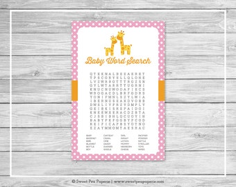 Giraffe Baby Shower Baby Word Search Game - Printable Baby Shower Word Search Game - Pink Giraffe Baby Shower - Baby Word Search - SP129