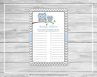 Owl Baby Shower Baby ABCs Game - Printable Baby Shower Baby ABCs Game - Blue Owl Baby Shower - Baby ABCs Game - Owl Shower Game - SP135