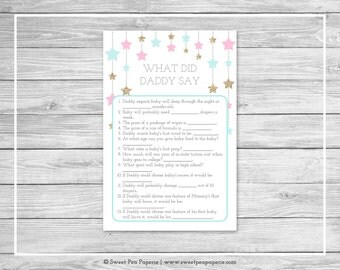 Twinkle Little Star Gender Reveal What Did Daddy Say Game - Printable Gender Reveal What Did Daddy Say - Pink Aqua Gold Gender Reveal- SP139