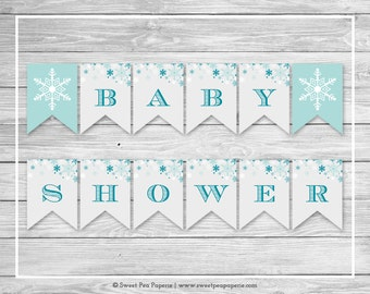 Winter Wonderland Baby Shower Banner - Printable Baby Shower Banner - Winter Wonderland Baby Shower - Baby Shower Banner - EDITABLE - SP114