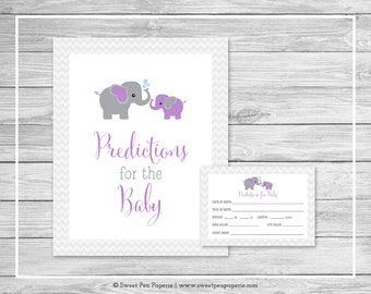 Elephant Baby Shower Predictions for Baby - Printable Baby Shower Predictions for Baby Cards - Purple and Gray Elephant Baby Shower - SP116