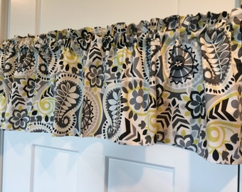 Waverly Home Decor Gray Lime Green Paisley Curtain Valance 54 wide