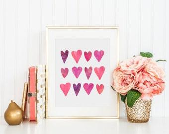 Row of Hearts  -  Art Print