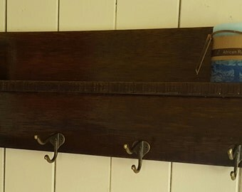 Rustic timber shelf and coat hook - made to order