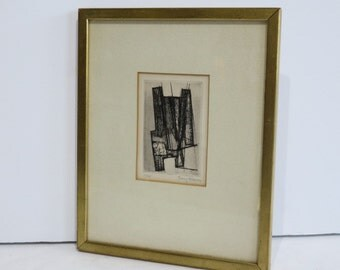 Linear Abstract By Terry Haass Mid-Century Modern 1960's Etching.