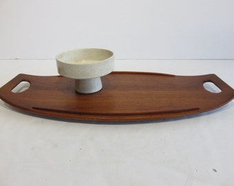 Early Mid-Century Danish Modern Dansk Denmark JHQ Staved Teak Tray Number 802 With Duck Logo, Surfboard By Jens Quistgaard.