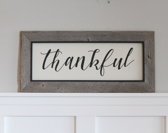 Reclaimed BarnWood Thankful Sign