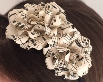 Headband Headpiece - Flower headband, Vintage Music Sheet, Flower Girl, Musician, Paperflower, Hair Accessory, Bridal