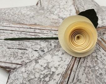 Boutonnière Buttonhole - Ivory Cream - Paper Flower, Wedding Guests, Bride, Groom, Best Man, Usher, Valentine Gift, UK