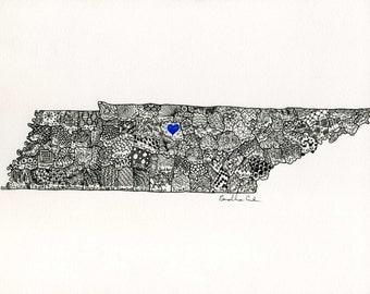 Line drawing of any state. Original custom to order OR prints. Pen+Ink, Zentangle, Doodle, Black, White, Illustration, Art, Gift, NY, NC, Va