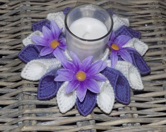 purple  and white candle holder