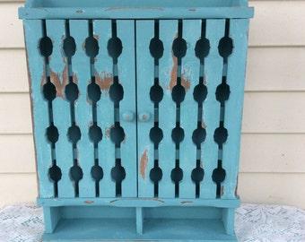 Distressed Turquoise Curio Cabinet