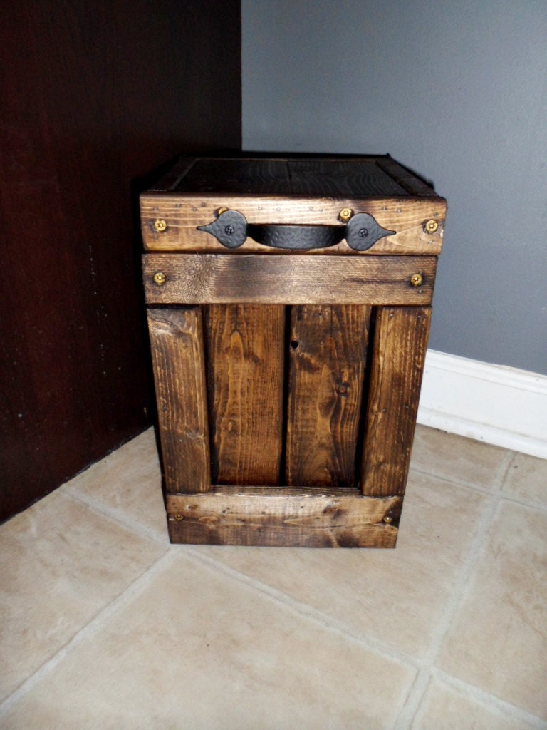 Wood Canisters Toilet Paper Holder Waste Basket Trash Can