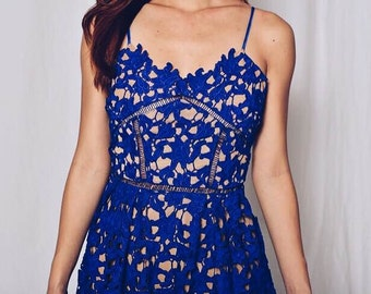Alyssa Lace Midi Dress in Cobalt Blue, Pinkish Red or White
